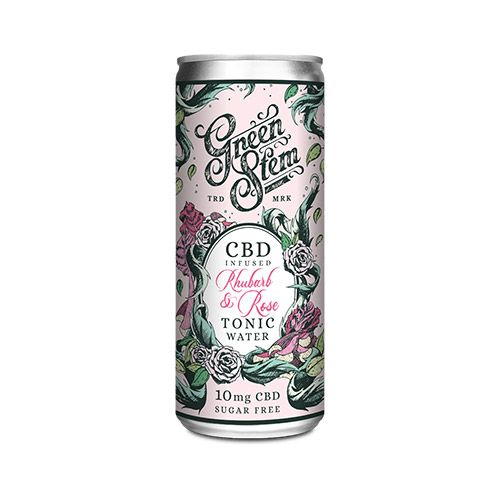 GREEN STEM CBD TONIC WATER - RHUBARB & ROSE 250ML 10MG CBD