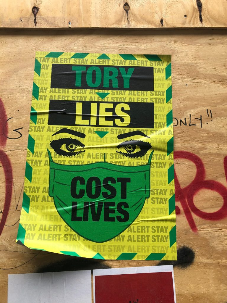 Tory Lies Cost Lives - Brick Lane Graffiti artwork